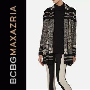 BCBGMAXAZRIA Shadia Textured Jacquard Sweater Coat. Wool Blend Cardigan